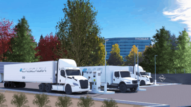 Photo of Daimler and PGE creating Electric Island for truck charging
