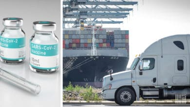 Image of vials on the left and a truck and vessel on the right to represent COVID vaccine distribution.