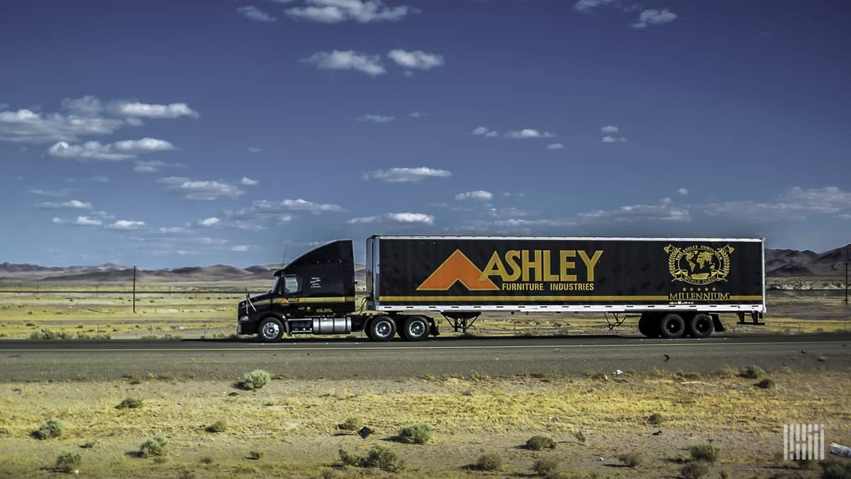 An Ashley Furniture Industries tractor-trailer hauls a load of furniture to one of the company's 1,000+ stores.  (Photo: Jim Allen/FreightWaves)