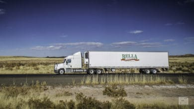 Prior to the company's closure, a Bella Fresh tractor-trailer delivered products. (Photo: Jim Allen/FreightWaves)