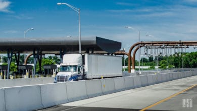 Truck passing through toll