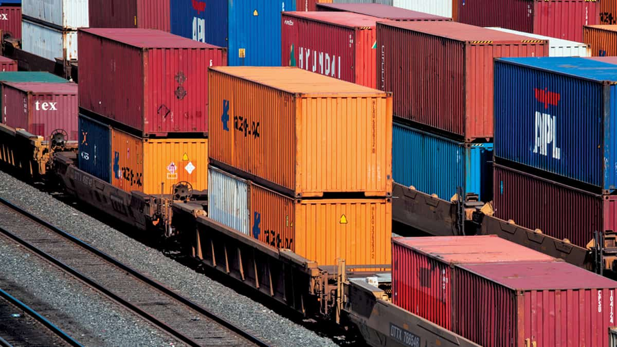 A photograph of intermodal containers in a rail yard.