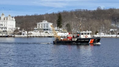 Coast Guard Aids to Navigation vessel on the Connecticut River.