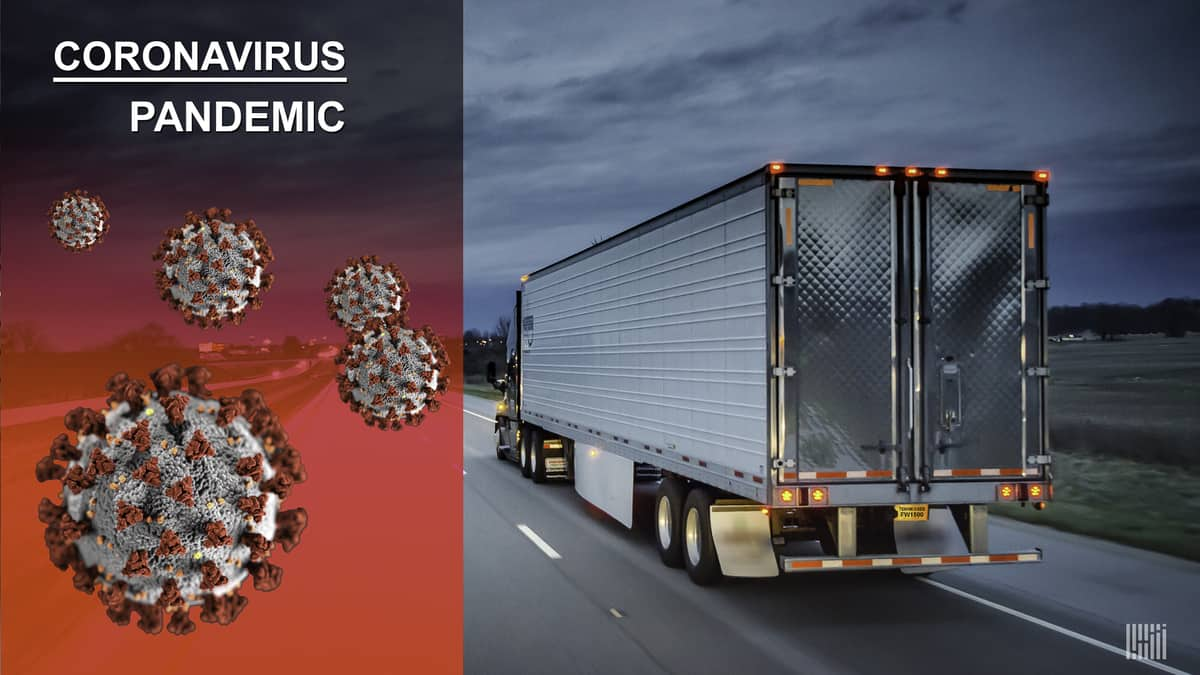 A silver refrigerated tractor trailer going down the highway with image of coronavirus superimposed next to it.