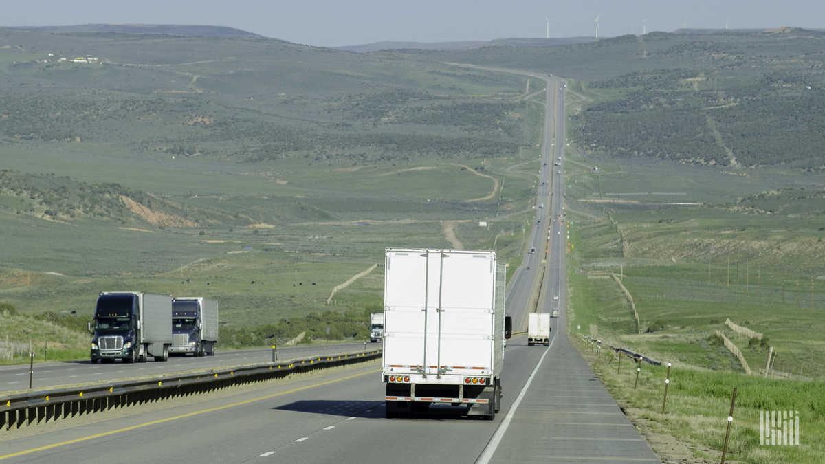 Tractor-trailers on Interstate 80 near Fort Bridger, Wyoming.