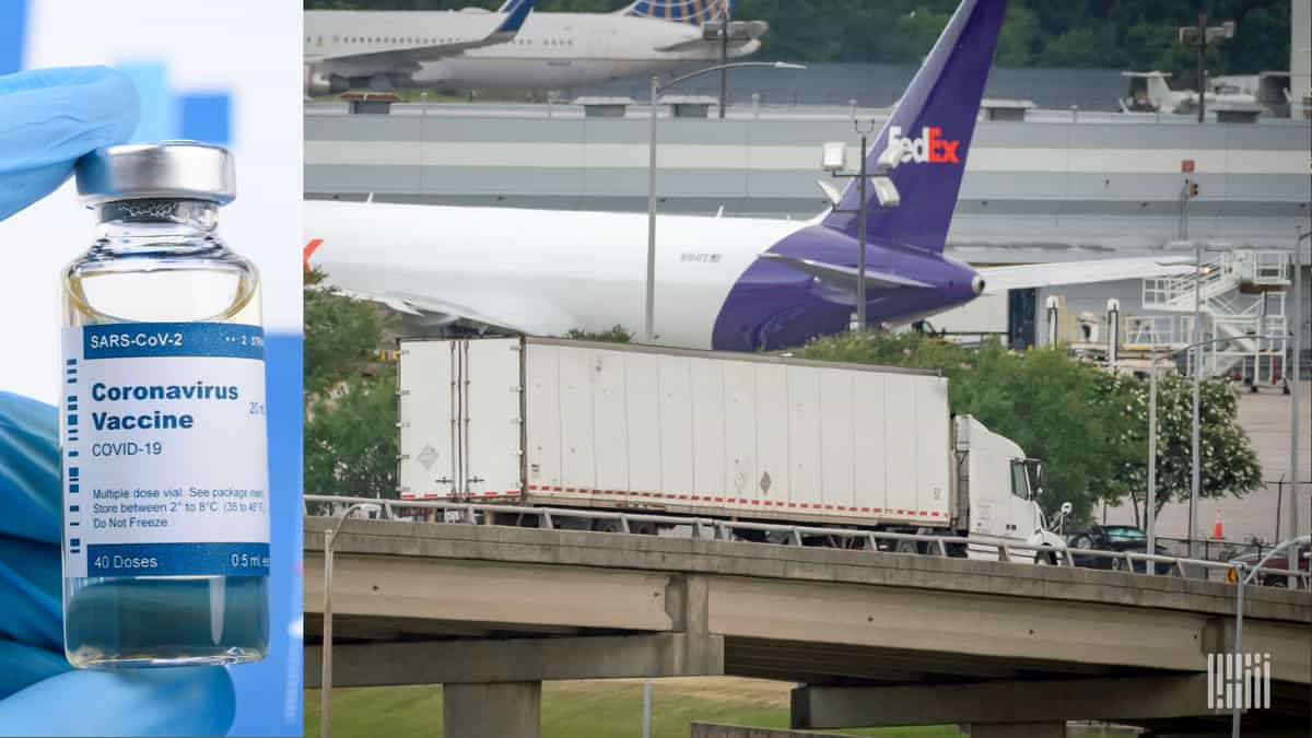 Graphic image with a vaccine vial on one side, FedEx aircraft on the other