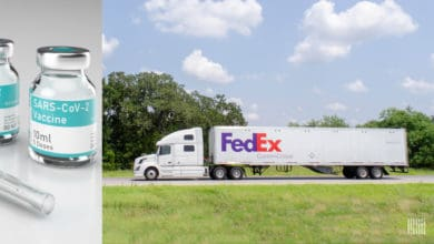 Split screen: Vial of COVID vaccine on left, FedEx truck on right. FedEx is helping to deliver vaccines.