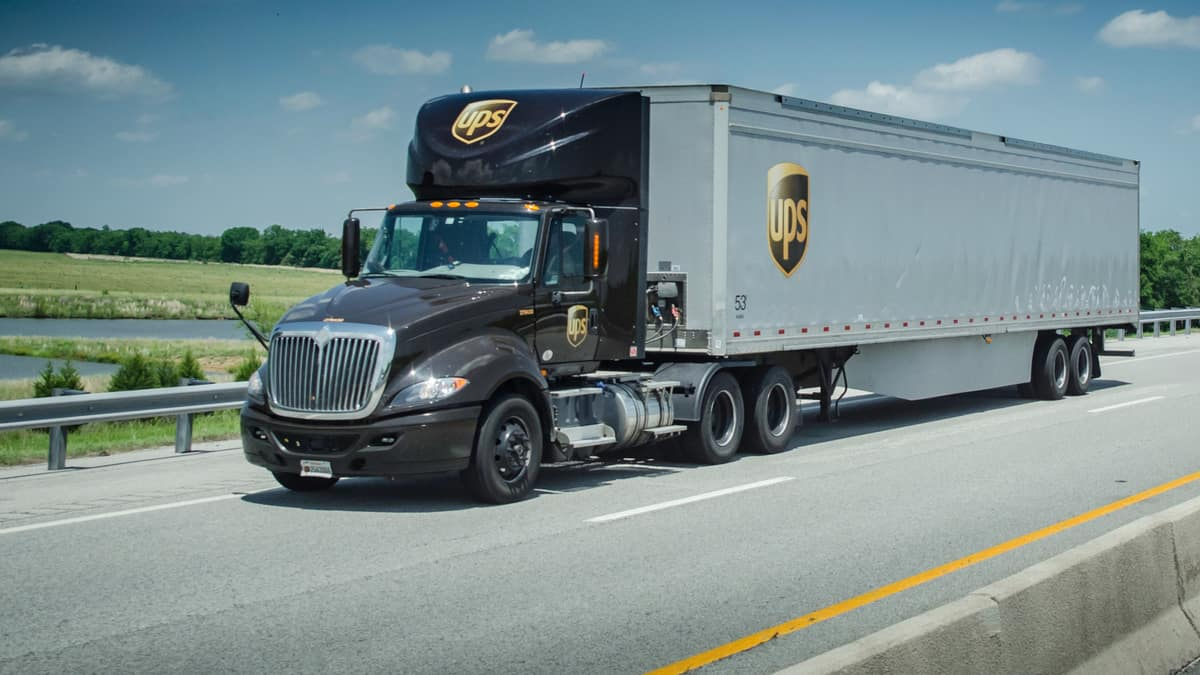 UPS truck stock images