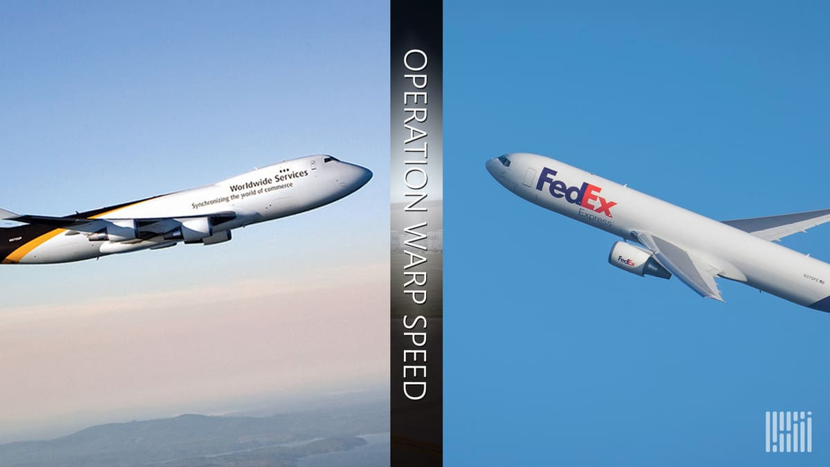 Split screen of UPS jumbo jet on left and FedEx cargo plane on right, with Operation Warp Speed logo down the middle. It's all about COVID vaccine delivery.
