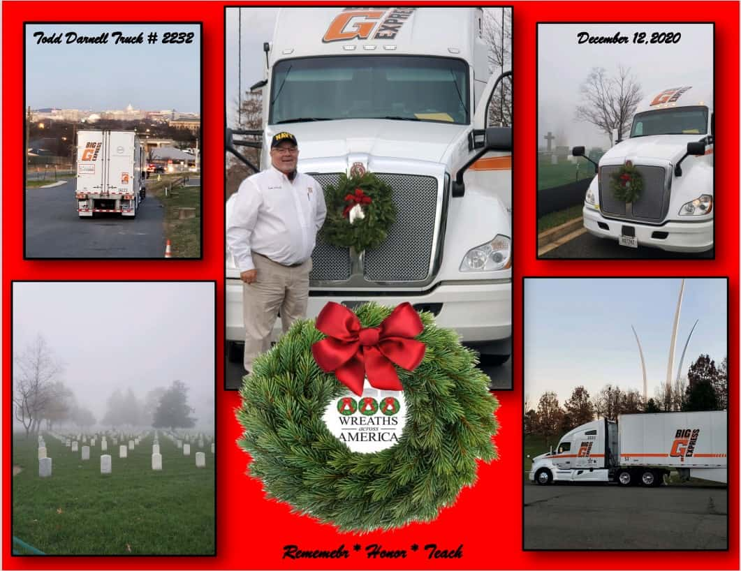 One of the charities that Big G Express contributes to is Wreaths Across America. This year, Big G Express delivered two trailers of wreaths to Arlington National Cemetery to mark the graves of our nation's heroes.  (Photos courtesy of Big G Express Facebook page)