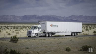 A Cardinal Logistics tractor-trailer on a road. Hackers recently leaked data stolen from the trucking company.