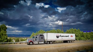 A tractor-trailer from Forward Air. The trucking company was targeted in a cyberattack in 2020.