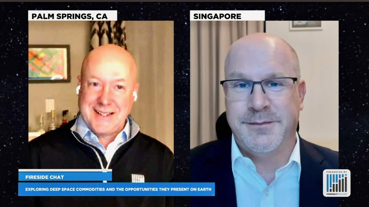 Commodities and finance expert Tom James (right) with FreightWaves Executive Publisher Kevin Hill discuss commodities in space during the SpaceWaves conference.
