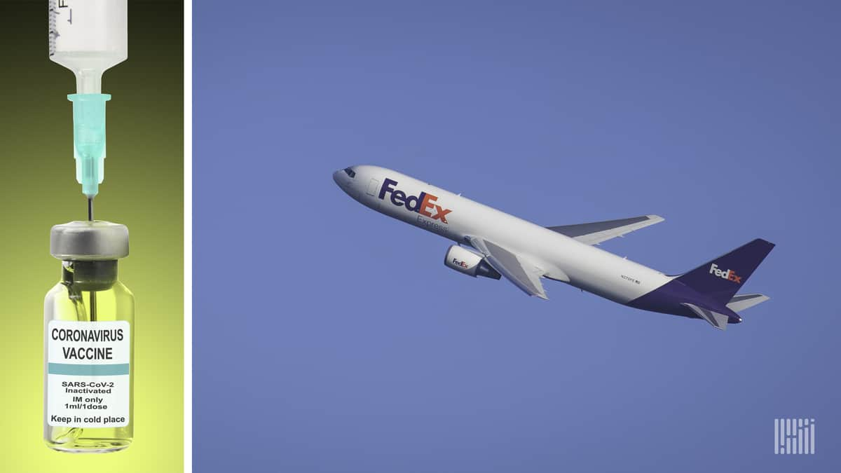 A COVID-19 vaccine vial next to a FedEx aircraft. FedEx has won a Canadian government logistics contract to distribute COVID-19 vaccines.