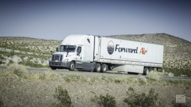 A Forward Air tractor-trailer seen from the front. The company was likely targeted in a cyberattack, experts say.