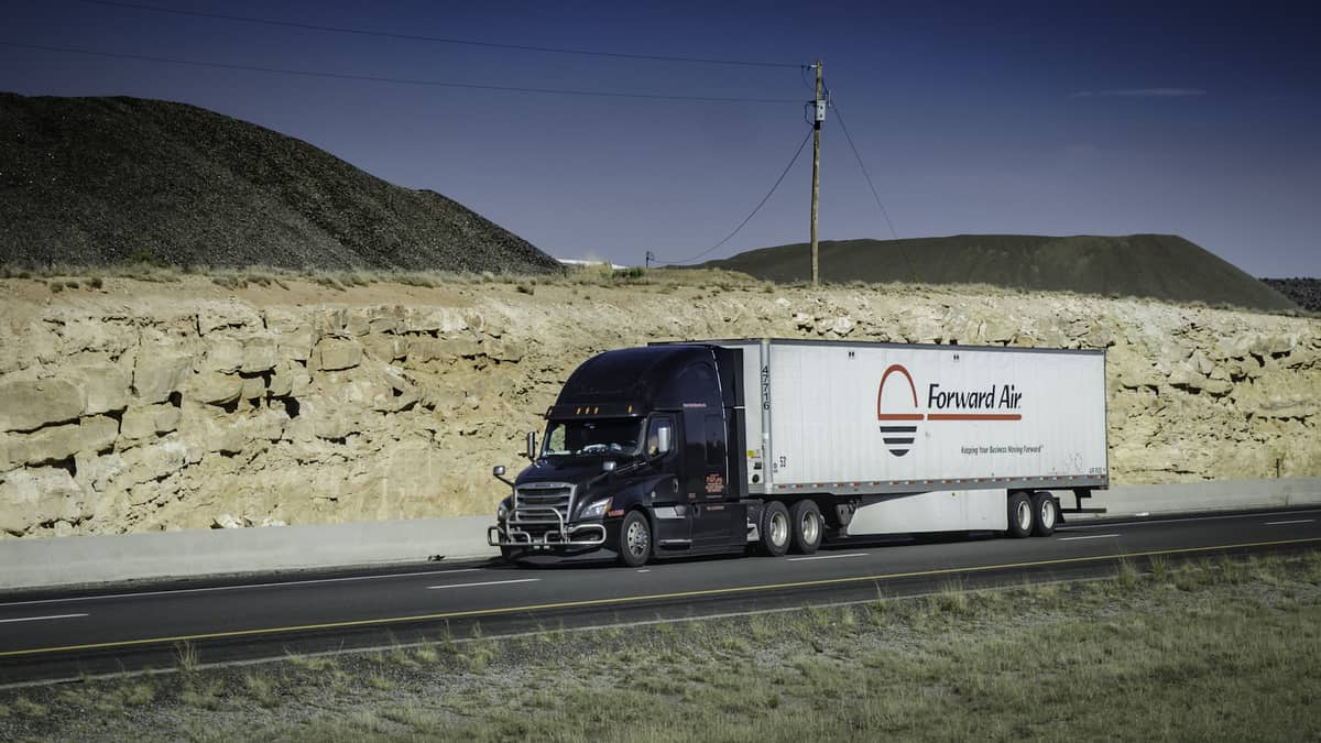 A tractor-trailer from Forward Air. Forward Air says it was targeted in a ransomware attack.