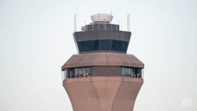 An air traffic control tower.