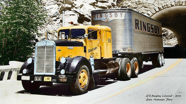 A Ringsby tractor-trailer exits a short tunnel. Note the rounded front edge of the trailer. (Photo: Stan Holtzman)