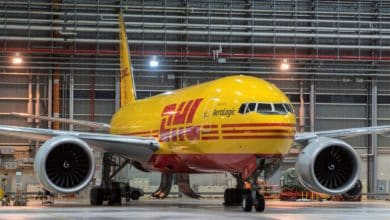 Bright yellow DHL cargo jet.
