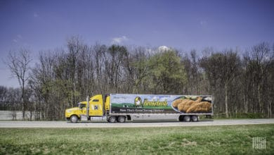 A Brakebush Transportation tractor-trailer delivering poultry products. (Photo: Jim Allen/FreightWaves)