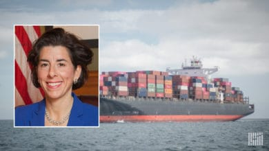 Mug shot of Commerce Secretary-designate Gina Raimondo with container vessel image in background.