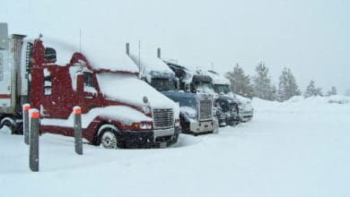 Tractor-trailers parked during a California snowstorm.