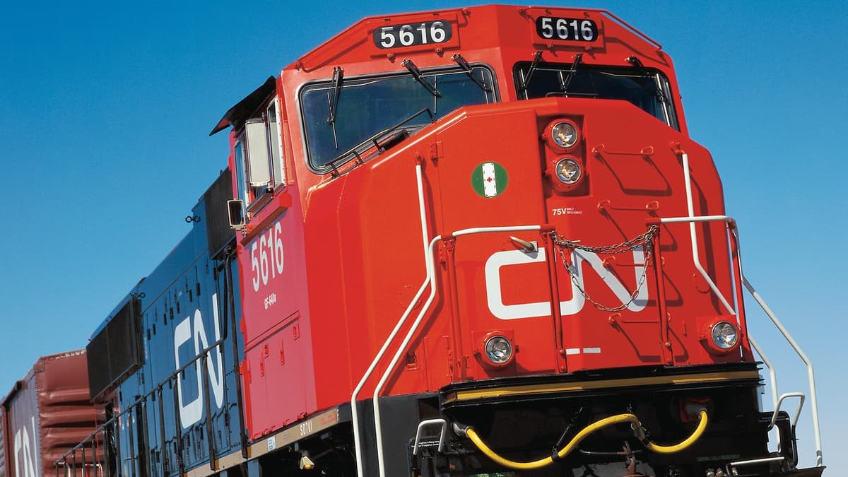 A photograph of a CN train.