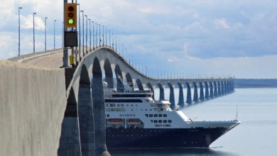 Ship going under the Confederation Bridge in eastern Canada.