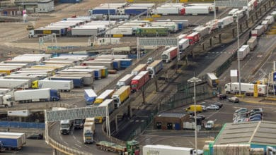 Trucks lined up at the port.