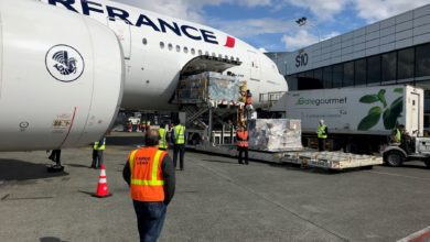 A large white jet getting loaded with cargo through side door. Airport worker with orange vest in foreground.