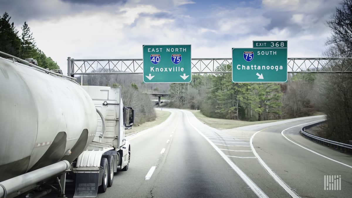 Tanker heading down I-75 in eastern Tennessee.