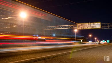 Traffic on a section of I-85 at night.
