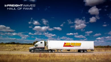 A Jim Palmer Trucking tractor-trailer roll down the highway on a beautiful day. (Photo: Jim Allen/FreightWaves)
