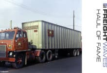 A Mushroom Transportation Co. tractor and trailer sport the company's unique name and logo. (Photo: Gary Morton Collection)
