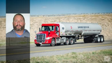 Groendyke Transport tanker on a desert highway. Inlay photo of driver Morgan Kirkland.