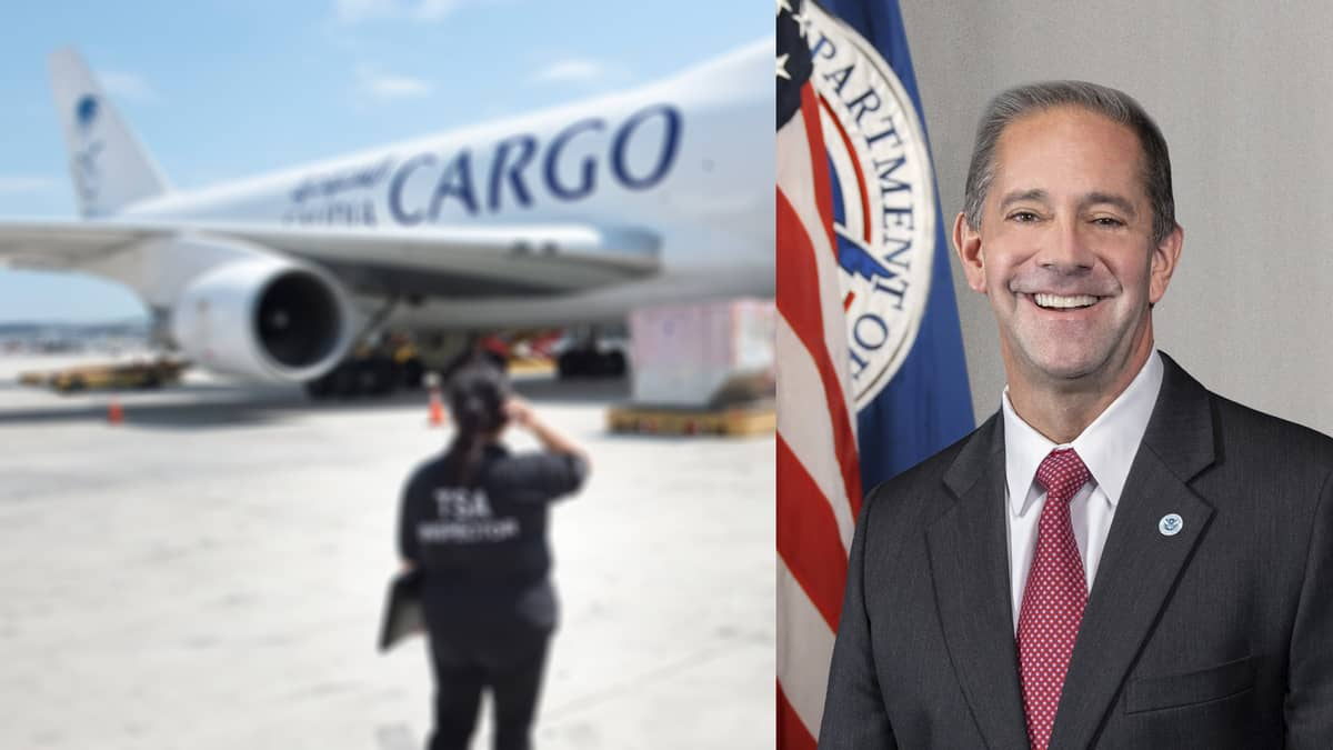 A TSA inspector observes cargo being loaded on a Saudia 747 jet. Split screen with TSA official in charge of Air Cargo division on the right.