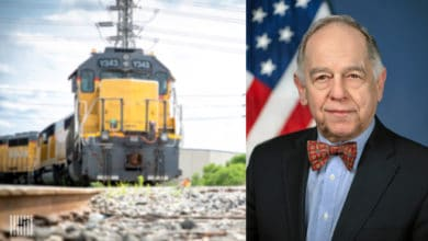 A composite photograph. On the left is a train and on the right is a man.