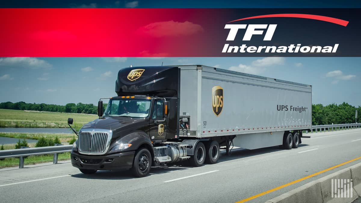 A tractor-trailer from UPS below a logo of TFI International. TFI is acquiring UPS Freight.