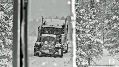 Tractor-trailer heading through snowstorm.