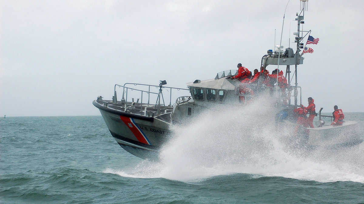 A photograph of a U.S. Coast Guard boat on the water.