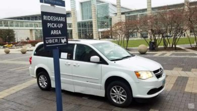 Uber car waits at airport
