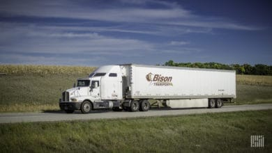 A tractor-trailer of Bison Transport, one of Canada's largest trucking companies.