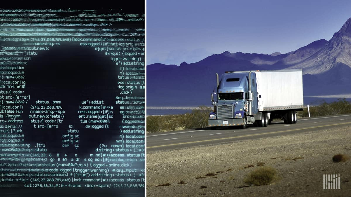 A skull appears in computer code alongside an image of a truck to illustrate a ransomware attack on DSC Logistics.