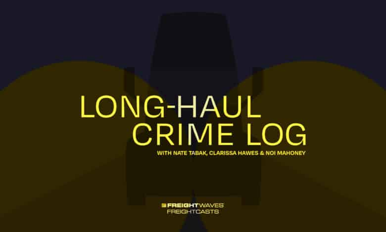 A logo with a semi-truck for the FreightWaves podcast Long-Haul Crime Log
