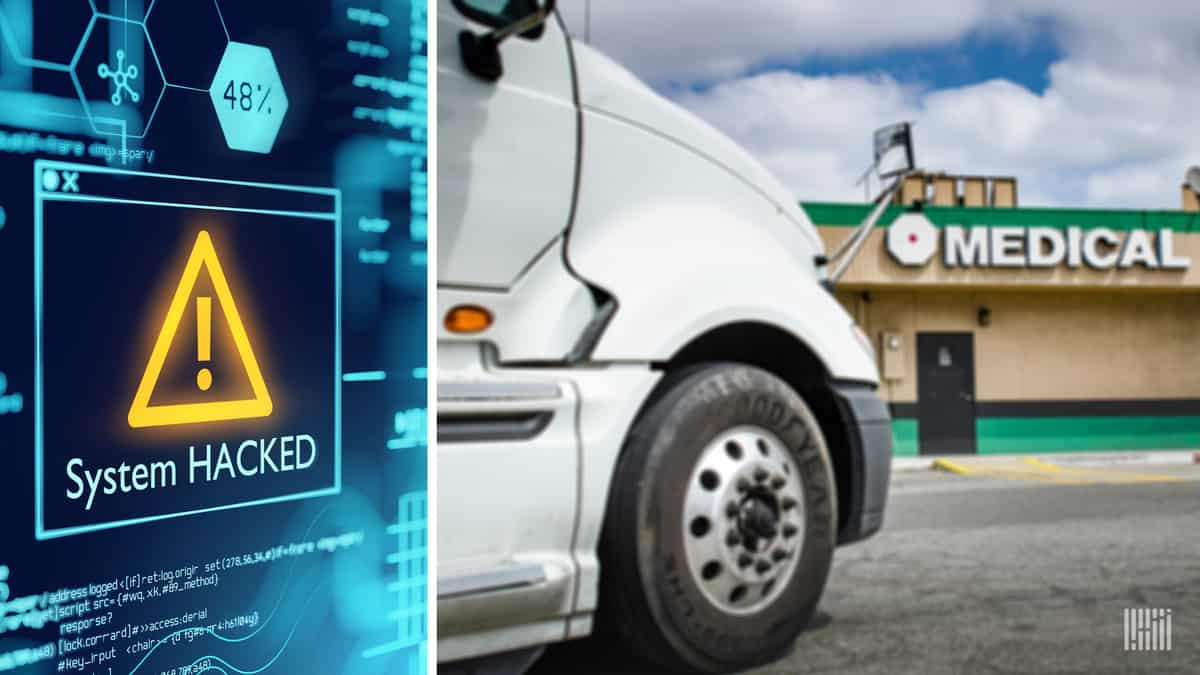 "An image of a computer screen stating ""system hacked"" alongside a photo of commercial truck at a medical clinic. Hackers recently leaked data form an occupational health clinic."