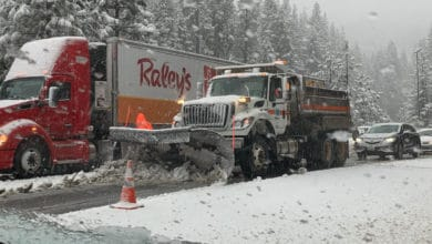 Tractor-trailer, other vehicles stopped on snowy Sierra Nevada highway.