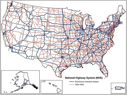 A map of the National Highway System. (Image: Federal Highway Administration)