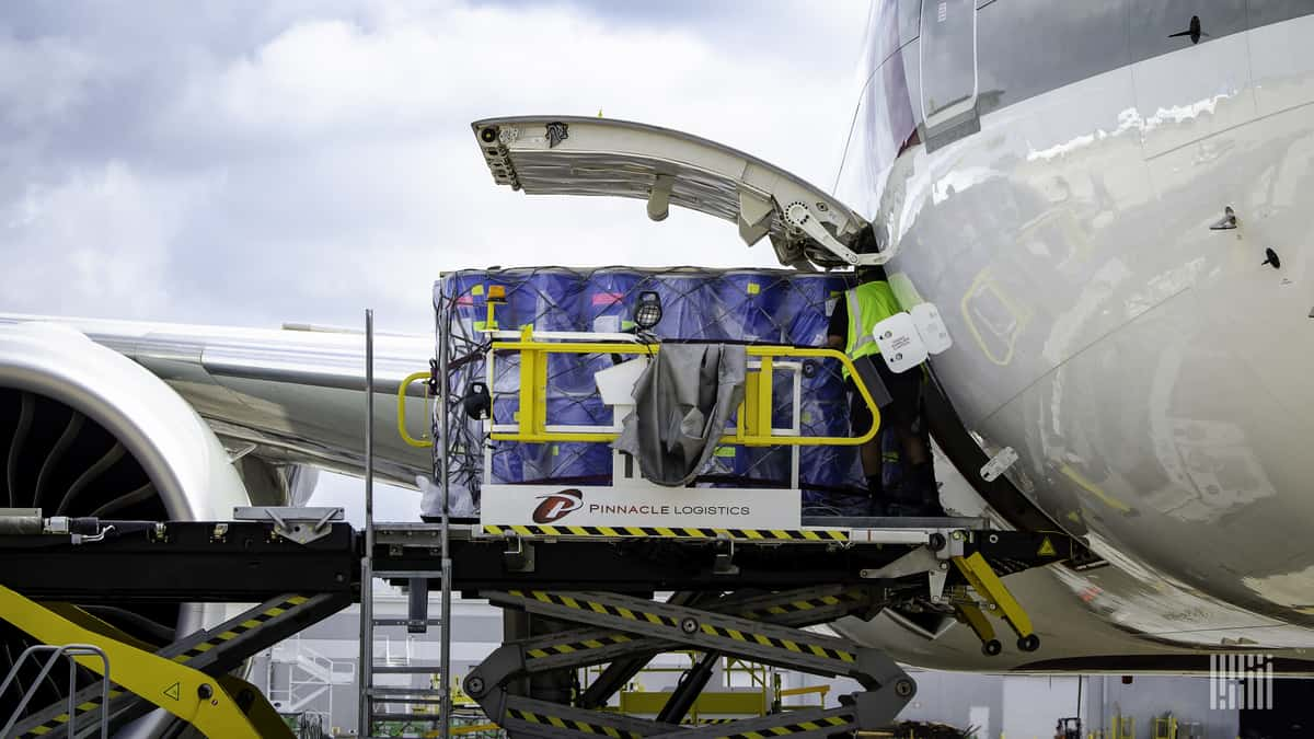 A pallet of cargo on a hydraulic lift sliding into the open side bay of a cargo jet.
