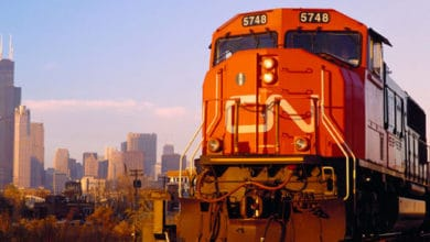 Canadian National Railway freight train with Chicago in the background.
