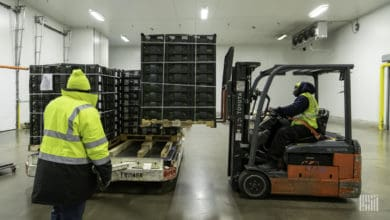 Food pallets inside warehouse
